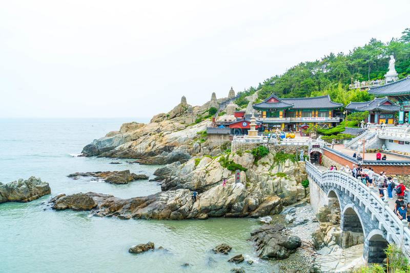 BUSAN,SOUTH KOREA-July 11,2017: Tourist visits Haedong Yonggung. Temple is a Buddhist temple and large one and Temple sits upon a cliff overlooking the East Sea royalty free stock photography