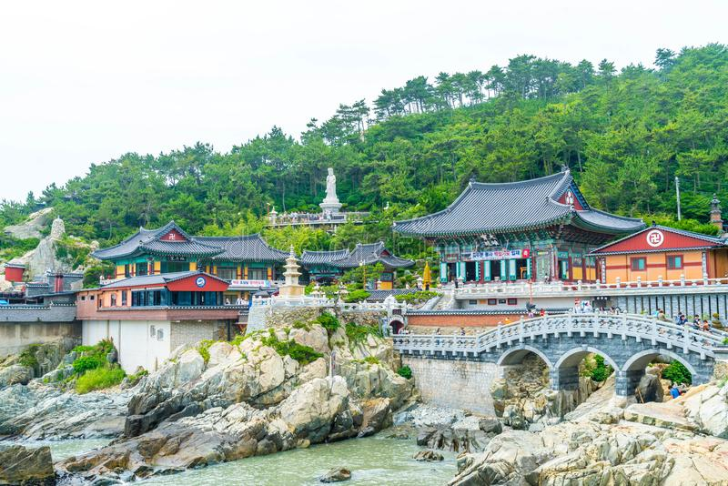 Busan,South Korea-July 11,2017: tourist visits Haedong Yonggung. Temple is a Buddhist temple and large one and Temple sits upon a cliff overlooking the East Sea stock photo