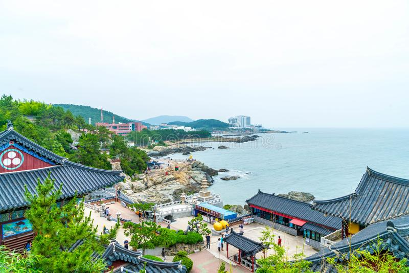 BUSAN,SOUTH KOREA-July 11,2017: Tourist visits Haedong Yonggung. Temple is a Buddhist temple and large one and Temple sits upon a cliff overlooking the East Sea royalty free stock photos
