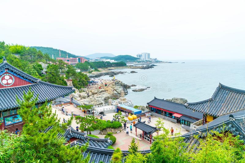 BUSAN,SOUTH KOREA-July 11,2017: Tourist visits Haedong Yonggung. Temple is a Buddhist temple and large one and Temple sits upon a cliff overlooking the East Sea stock photos