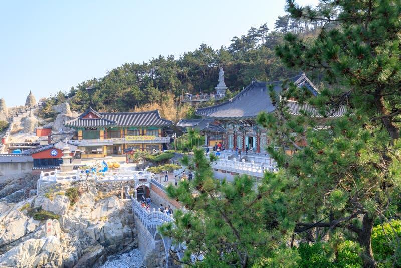 Haedong yonggungsa seaside temple in Busan. Busan, South Korea - March 27, 2018 : Haedong yonggungsa seaside temple in Busan, South korea royalty free stock photography