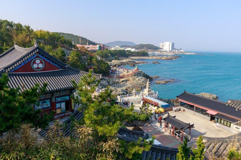 Haedong yonggungsa seaside temple in Busan. Busan, South Korea - March 27, 2018 : Haedong yonggungsa seaside temple in Busan, South korea stock photography
