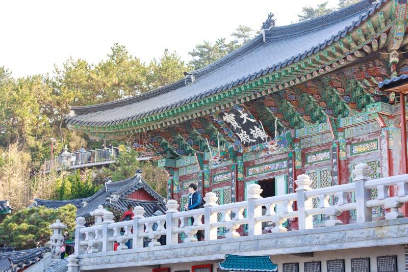 Haedong yonggungsa seaside temple in Busan. Busan, South Korea - March 27, 2018 : Haedong yonggungsa seaside temple in Busan, South korea stock image