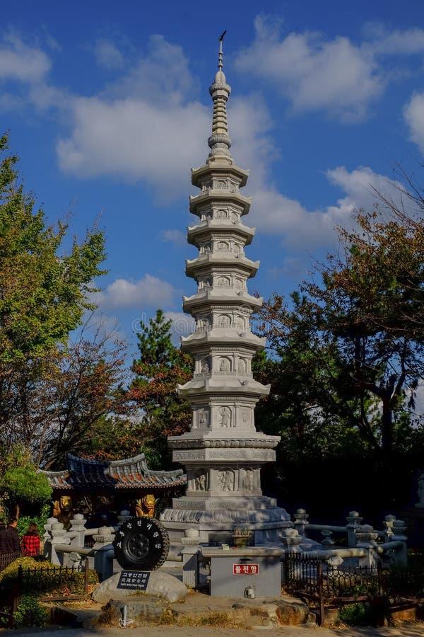 Haedong Yonggungsa Temple in Busan. BUSAN/SOUTH KOREA - November 4, 2017 : Korean people and most of tourist visit Haedong Yonggungsa Temple in Busan, South royalty free stock image