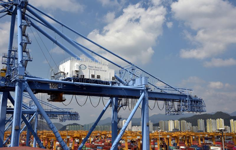 Port of Busan, view on the gantry crane and containers. stock photos