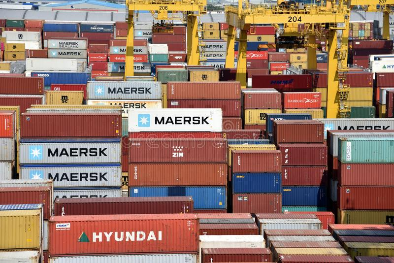 Port of Busan, view on the container terminal. royalty free stock photos