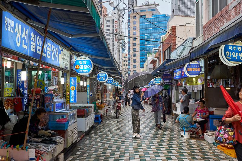 Busan, South Korea - September 13, 2018 : View of the Haeundae Sunrise market. Busan, South Korea - September 13, 2018 : A view of the Haeundae Sunrise market stock images