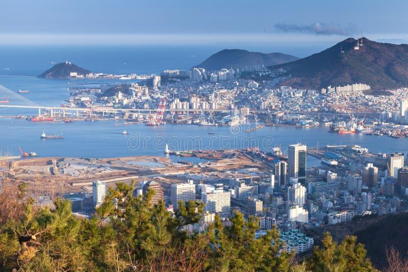 Busan stad, Sydkorea flyg- sikt royaltyfri fotografi