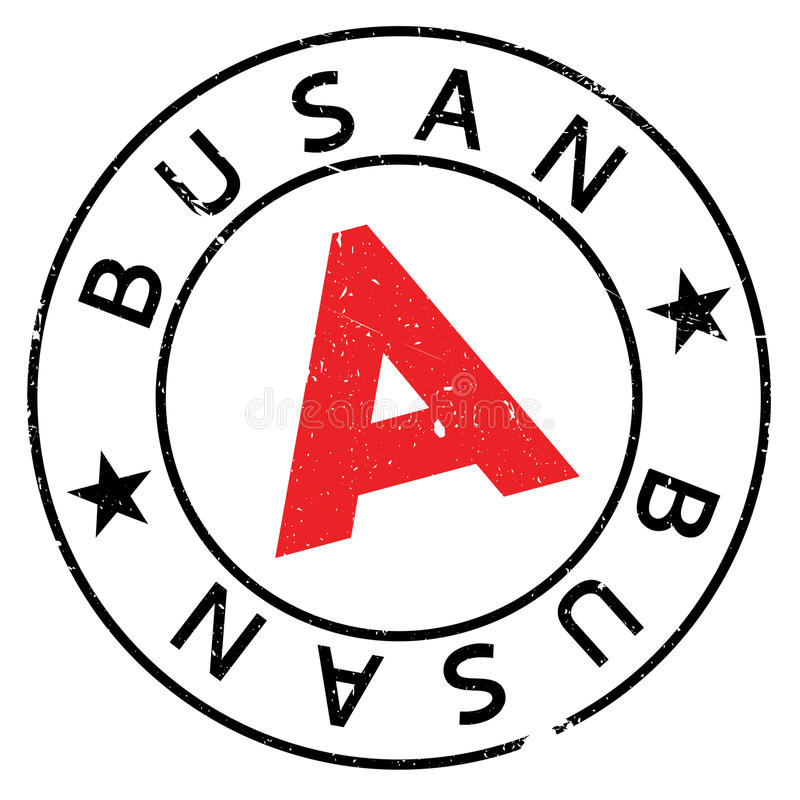 Busan stamp rubber grunge. Busan stamp. Grunge design with dust scratches. Effects can be easily removed for a clean, crisp look. Color is easily changed royalty free illustration