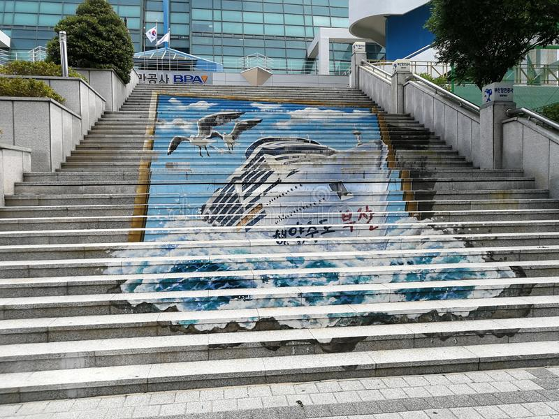 Busan Street Art. Busan, a large port city in South Korea, is known for its beaches, mountains and temples. Busy Haeundae Beach features the Sea Life Aquarium royalty free stock photos