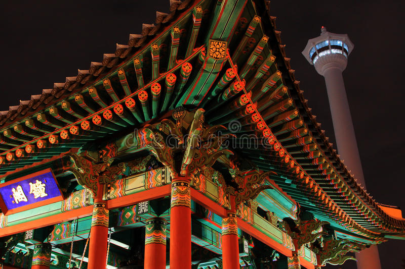 Busan Tower At Night. Busan Tower at Yongdusan Park. Busan Tower is a symbol of Busan that stands proudly 69m above sea level at a height of 120m stock photo