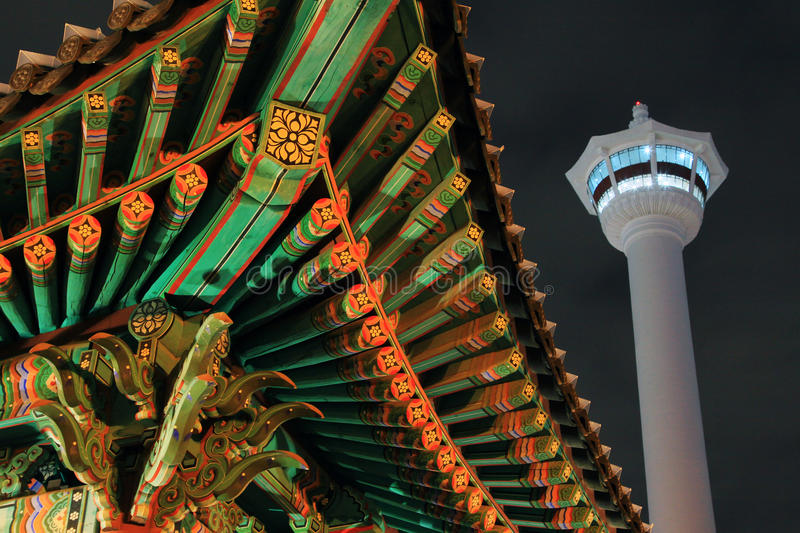 Busan Tower At Night. Busan Tower at Yongdusan Park. Busan Tower is a symbol of Busan that stands proudly 69m above sea level at a height of 120m stock images