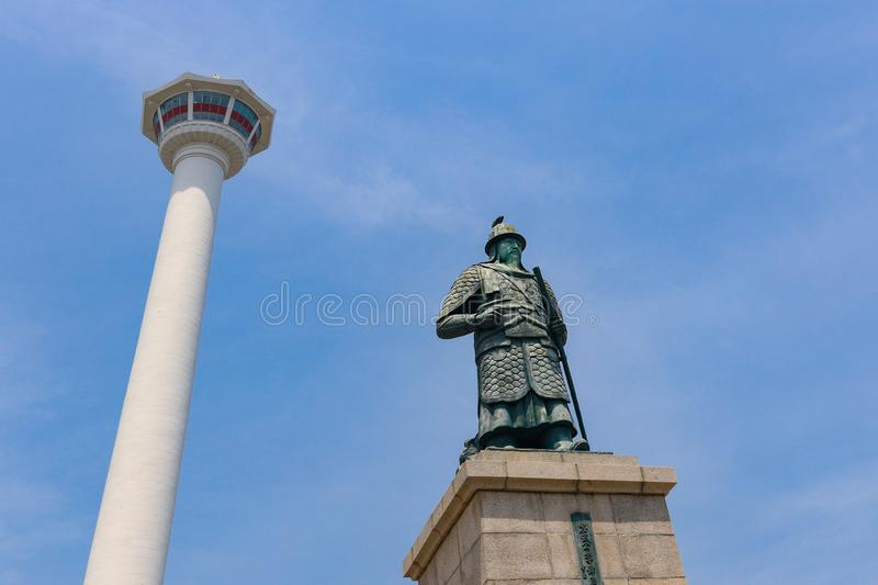 Busan Tower. And statue in the city of Busan, South Korea royalty free stock photography