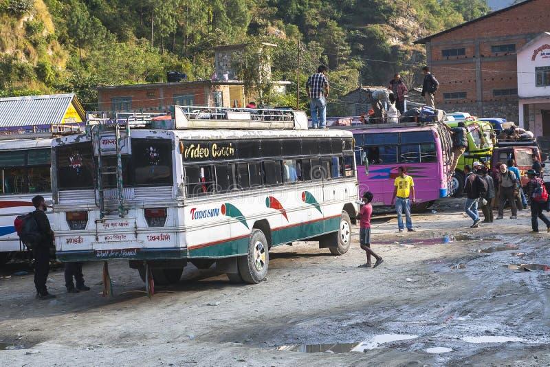 Busbahnhof in Beni in Nepal lizenzfreies stockfoto
