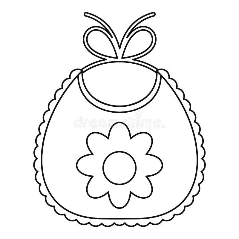 Busbana francese del bambino con l'icona del fiore, stile del profilo illustrazione vettoriale