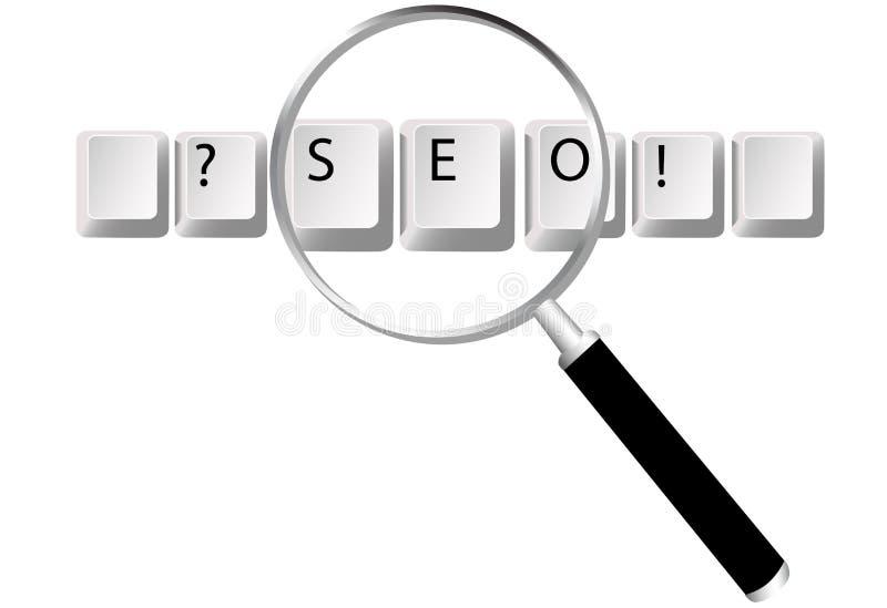 A busca da lupa das chaves de SEO aperfeiçoou ilustração do vetor