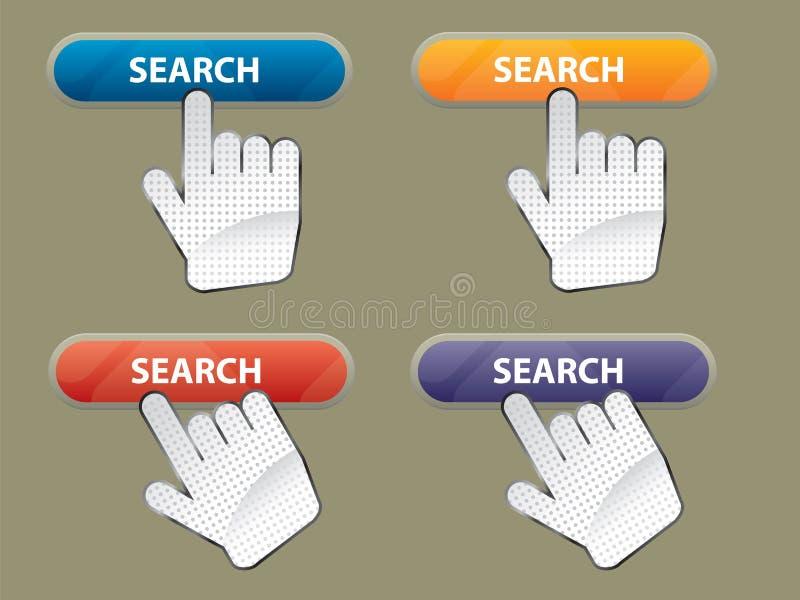 Busca da mão e da tecla fotos de stock