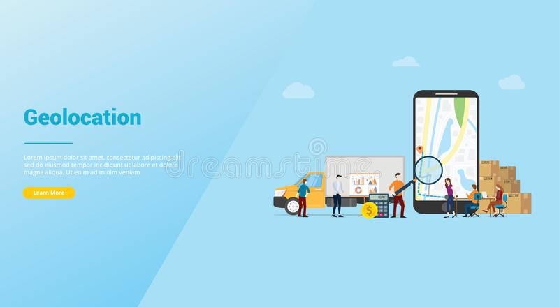 Busca da otimização de Geolocation para as melhores rotas no app dos mapas para o serviço de entrega do negócio com estilo liso m ilustração royalty free