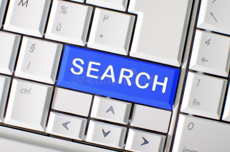 Busca da palavra na chave de teclado do computador imagem de stock