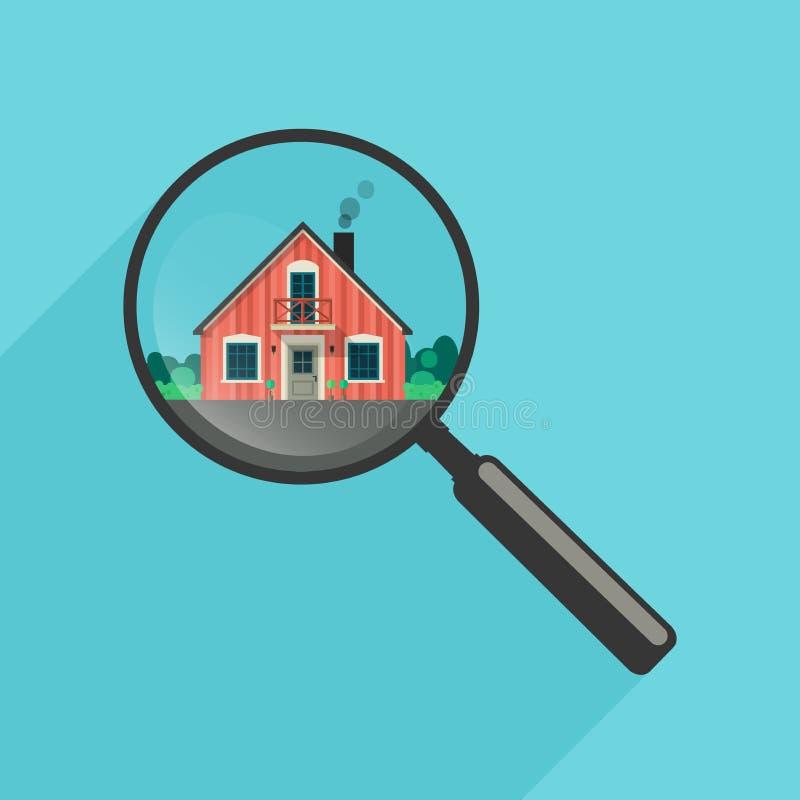 Busca de casa com lente de aumento ilustração stock
