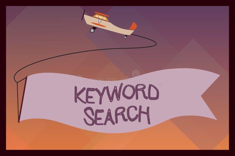 Busca de palavra-chave do texto da escrita O significado do conceito usando a palavra ou o termo para olhar o assunto correto ass ilustração royalty free