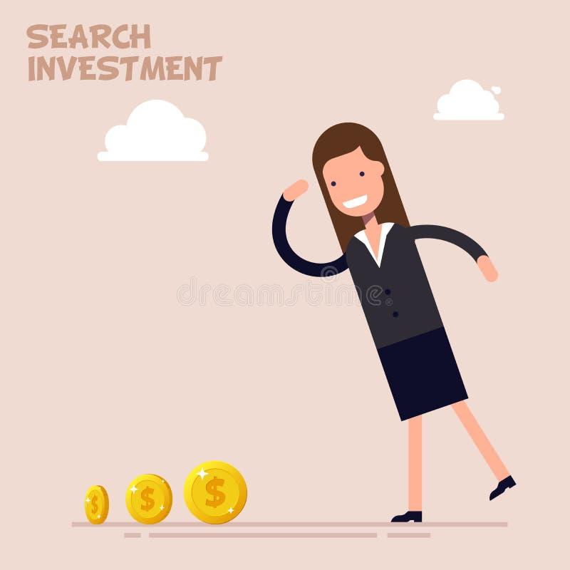 Busca do homem de negócios ou do gerente do dinheiro e do investimento no negócio Ilustração do vetor em um estilo liso dos desen ilustração do vetor