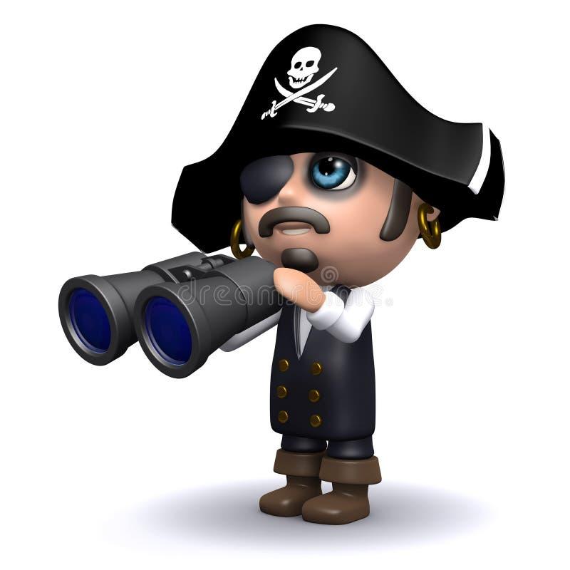 busca do pirata 3d ilustração royalty free