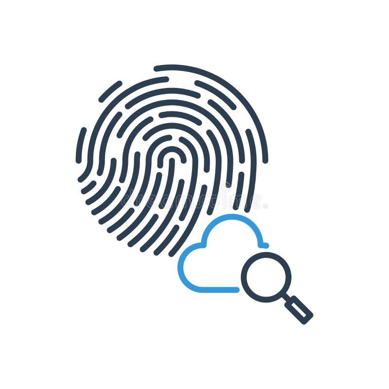 Busca e achado da nuvem vetor do ícone da impressão digital da pesquisa ilustração royalty free
