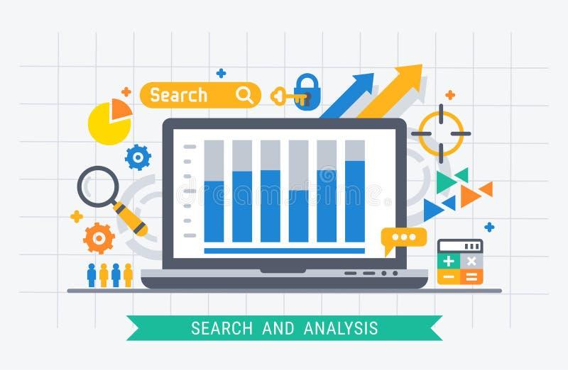 Busca e análise ilustração stock