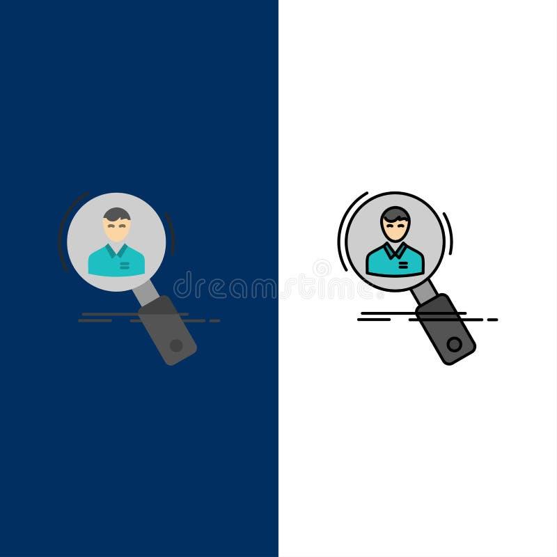 Busca, empregado, hora, caça, pessoal, recursos, ícones do resumo O plano e a linha ícone enchido ajustaram o fundo azul do vetor ilustração stock