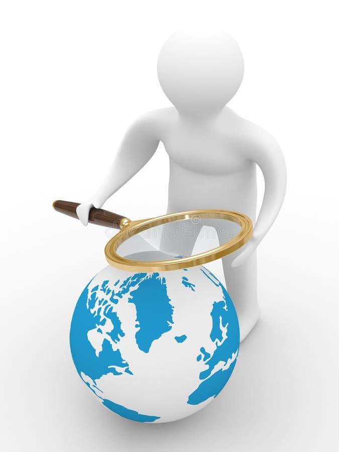Busca global. 3D isolado ilustração royalty free