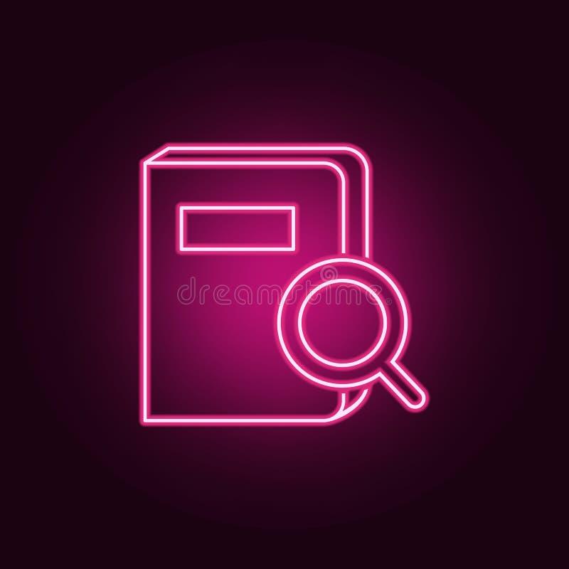busca para um ícone do livro Elementos dos livros e dos compartimentos nos ícones de néon do estilo Ícone simples para Web site,  ilustração stock