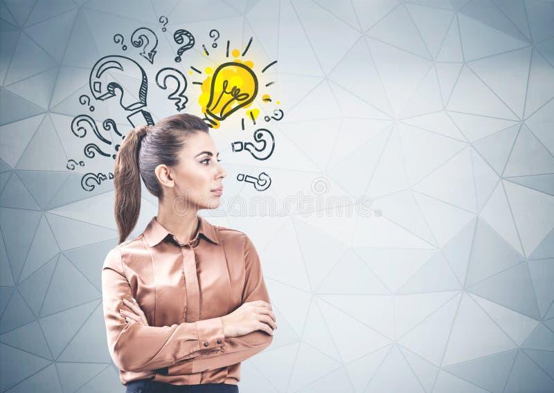 Busca segura da solução da mulher de negócio fotografia de stock