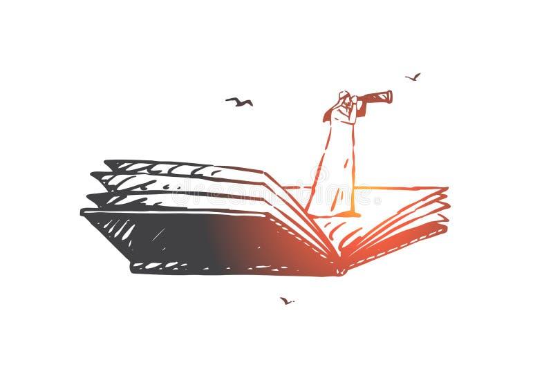 Buscando, análisis, caza, auditoría, bosquejo del concepto de la navegación Ejemplo aislado dibujado mano del vector stock de ilustración