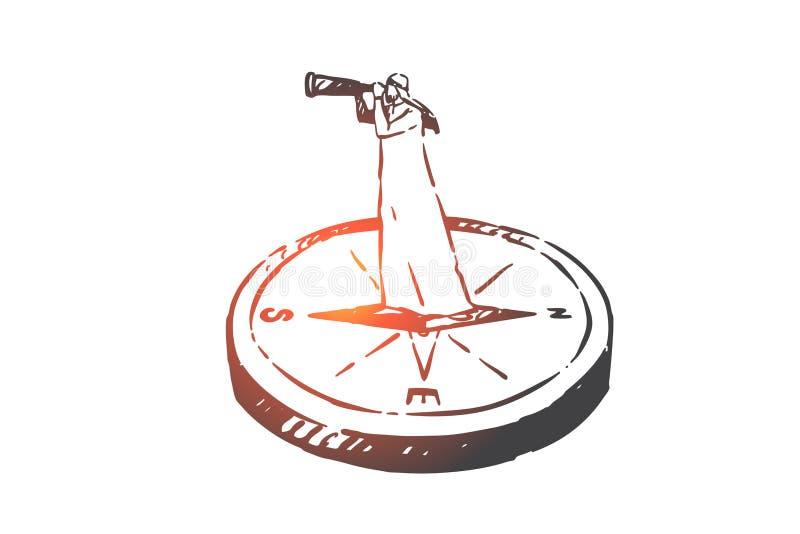 Buscando, análisis, caza, auditoría, bosquejo del concepto de la navegación Ejemplo aislado dibujado mano del vector libre illustration