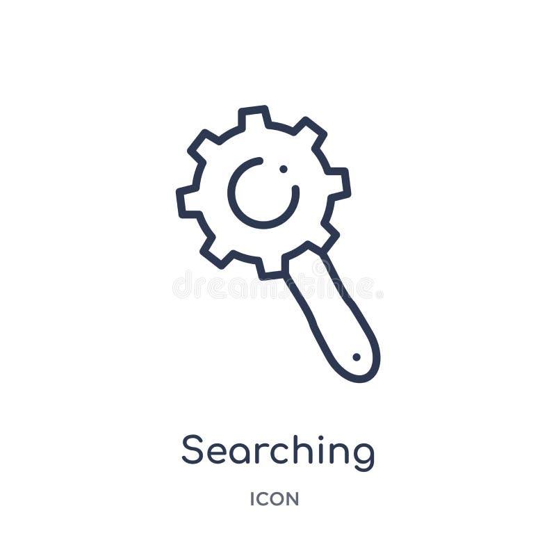buscando los ajustes interconectan el icono de la colección del esquema de la interfaz de usuario La línea fina que busca ajustes stock de ilustración
