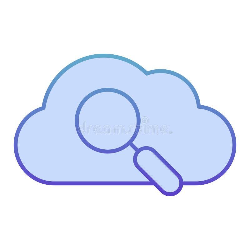 Buscar en icono plano de nube. Búsqueda de datos iconos azules en estilo plano moderno. Nube con diseño de estilo de gradiente d imagen de archivo libre de regalías