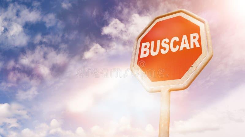 Buscar, texto espanhol para o texto da busca no sinal de tráfego vermelho fotografia de stock royalty free