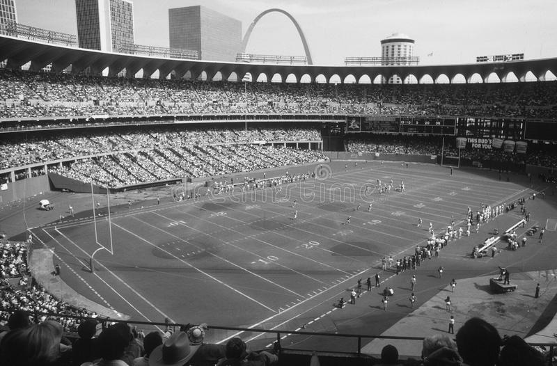 Vintage Image Of Old Busch Stadium Set Up For St Louis Cardinals Football Taken From BW Negative