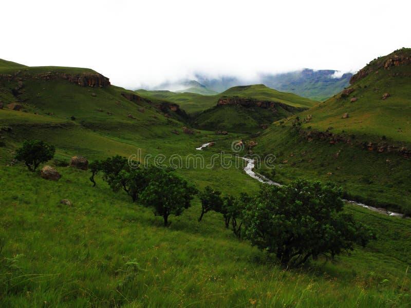 Buschmann ` s River Valley, Nationalpark der uKhahlamba Drachenberge stockfoto