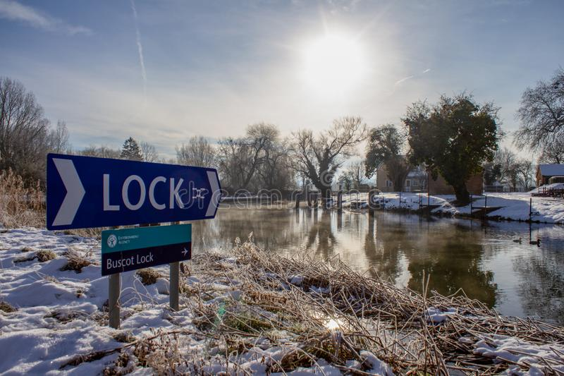 Buscot Lock in Winter Snow. BUSCOT, UNITED KINGDOM - FEBRUARY 03: Heavy snowfall overnight in the UK pictured along the River Thames on February 3rd, 2019 in royalty free stock photos