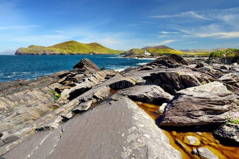 Buse och stenig kust l?ngs den ber?mda cirkeln av den Kerry rutten Iveragh halvö, ståndsmässiga Kerry, Irland arkivfoton