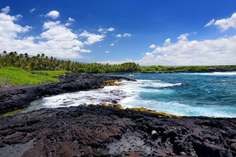 Buse och stenig kust på sydkusten av den stora ön av Hawaii arkivbild