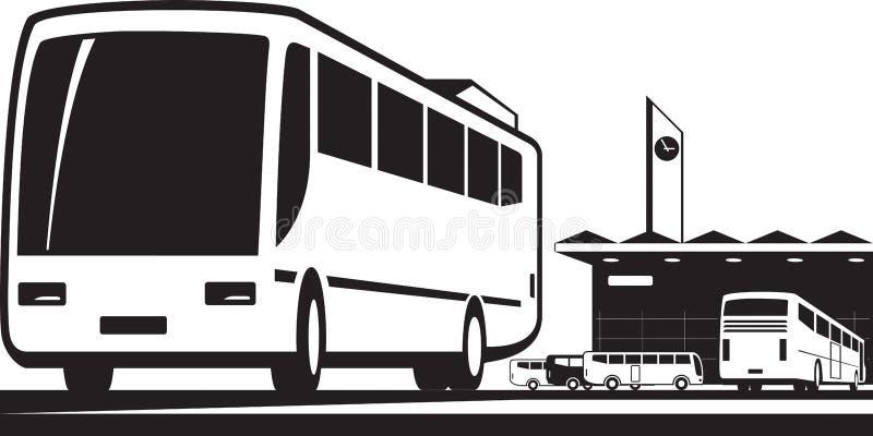 Buses arrive and depart at station. Vector illustration royalty free illustration