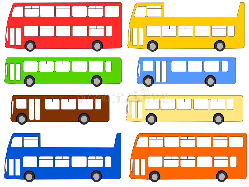 Download Buses illustration stock vector. Image of single, double - 2304682