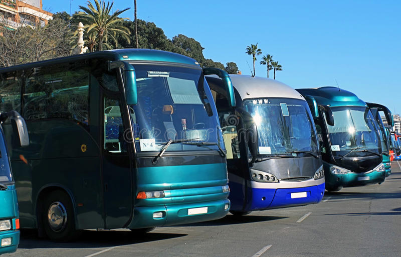 Download Buses in a parking stock image. Image of drive, road - 21080677