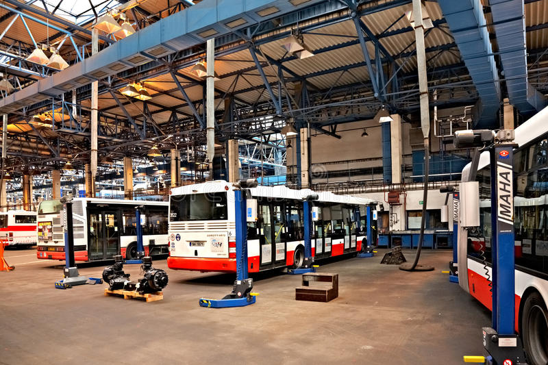 Download Buses In Workshops In Depot Hostivar, Prague Editorial Stock Image - Image: 21554714