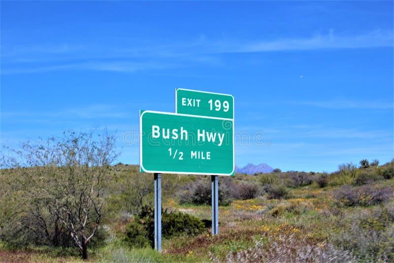Bush autostrada, Tonto las państwowy, Maricopa okręg administracyjny, Arizona, Stany Zjednoczone obrazy stock
