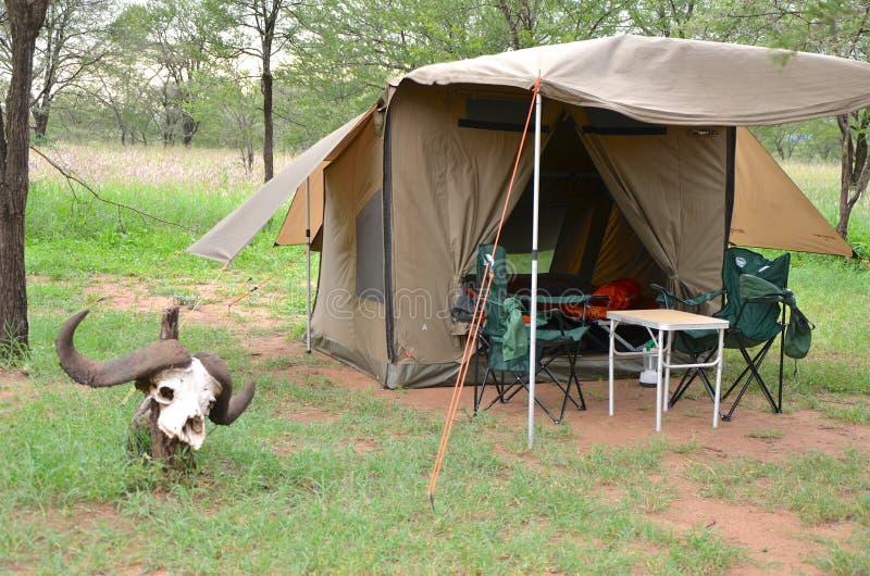 Bush camping in the Serengeti royalty free stock photo