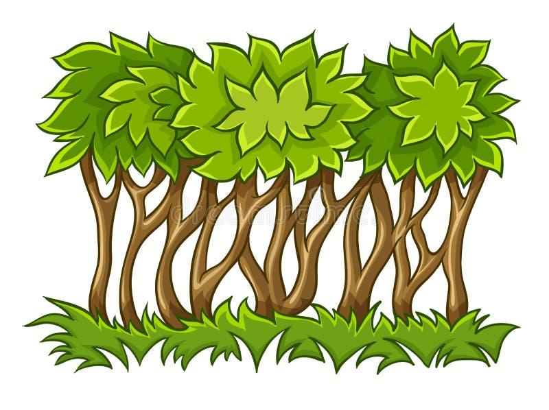Bush con las hojas del verde en hierba stock de ilustración